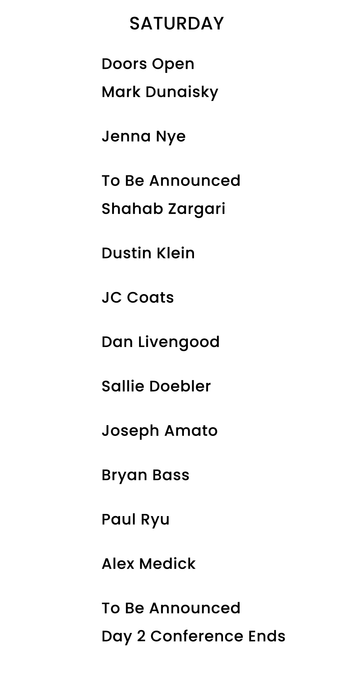 Saturday Speaker Schedule